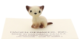 Hagen-Renaker Miniature Cat Figurine Tiny Siamese Kitten Sitting Chocolate Point