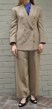 Giorgio Armani Black Label Herringbone Beige Jacket Pants Suit 42 Italy ... - $158.35