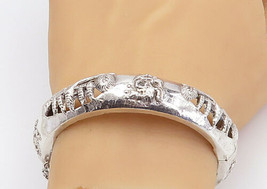 925 Sterling Silver - Vintage Embossed Pattern Hinge Bangle Bracelet - B... - $93.41