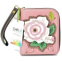 Chala Handbags Faux Leather Pink Rose Flwoer Zip Around Wristlet Wallet