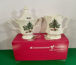 Nikko CHRISTMASTIME Sugar and Creamer with Lid Christmas Tree Pattern EU... - $39.55