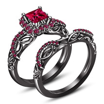 14k Black Gold Finish 925 Sterling Silver Womens Bridal Pink Sapphire Ri... - $98.99