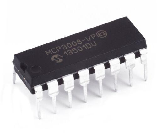 Microchip MCP3008-I/P MCP3008 8-Channel 10-Bit A/D Converters SPI (Pack of 5)
