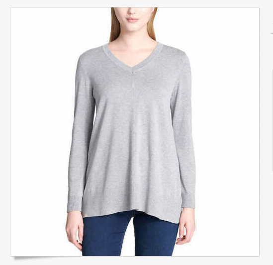 Primary image for DKNY Jeans Women's V-neck Sweater, Heather Grey, Medium