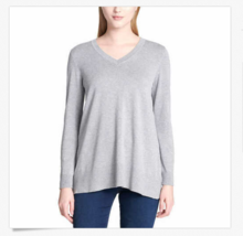 DKNY Jeans Women's V-neck Sweater, Heather Grey, Medium - $14.84