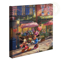 Thomas Kinkade Mickey and Minnie Sweetheart Cafe 14 x 14 Gallery Wrapped... - $89.00