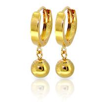 14K Solid Gold Hoop Earrings Ball Dangling - $137.46