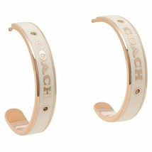 BRAND NEW COACH F76468 PLAQUE ROSE GOLD/CHALK HOOP EARRINGS - $77.21