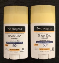 Neutrogena Sheer Zinc Mineral Sunscreen Stick SPF 50 Zinc Oxide Lot Of 2 - $13.85