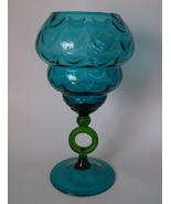 Large Blue Glass Vase Draped Green Stem Mid Century MCM Vintage Candy NO... - $79.98