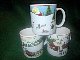 3 Sakura David Carter Brown Holiday Christmas Valley Coffee Cups Mugs di... - $270,85 MXN