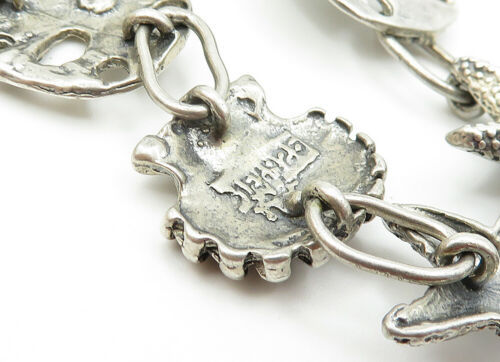 MEXICO 925 Silver - Vintage Grape Bunch Leaf Charmed Chain Bracelet - B6151 image 4