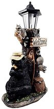 Rustic Western Decor Forest Bear Summer Slumber Figurine With Solar Charged LED  - $51.00