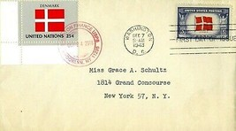 FIRST DAY COVER 1943 OVERRUN NATIONS FLAGS DENMARK THE WORLD WAR II VALU... - $27.00