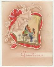 Vintage Christmas Card Wise Men on Camels Tan 1940's Die-Cut Trim - $6.92