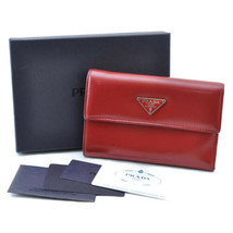 PRADA Leather Wallet Red Auth sa1941 - $240.00