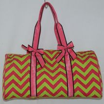 Rosen Blue  CC703 Fuchsia Lime Chevron Pattern Duffle Bag image 3