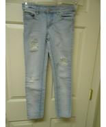 Cute girls size 10 Cherokee factory destroyed light blue jeans skinny leg - $12.86