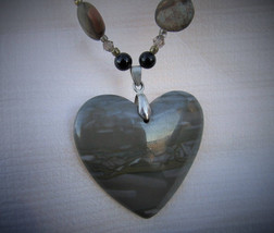 Big bold heart gemstone agate necklace - $46.00