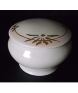 Vintage Weimar Porcelain Trinket Box Lidded Box Creamy White Blush & Gol... - $28.98