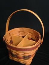Longaberger Vintage Wooden Basket Multi- Tri-Color Round & Divider Round... - $25.21