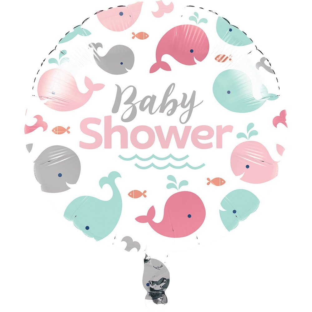 Primary image for Lil Spout Pink Whale Animal Ocean Baby Shower Party Decoration Mylar Balloon