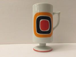 One Sake cup succulent pot red orange retro mug teacup Japan squares dec... - $5.00