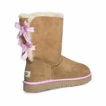 UGG BAILEY BOW GINGHAM CHESTNUT SUEDE SHEEPSKIN WOMEN'S BOOTS SIZE US 8 NEW - $189.99