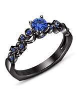 14K Black Gold Finish 925 Silver Round Cut Blue Sapphire Engagement Wedd... - $49.32