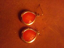 Gold and Orange Dangle Earrings - $7.00