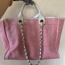 AUTHENTIC CHANEL LIGHT PINK RED CANVAS LARGE DEAUVILLE 2 WAY TOTE BAG  image 3