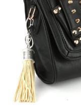 Tassel Key Chain Handbag Charm Accessory Key Fob Claw Hook Silvertone Beige image 2