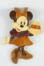 Vintage Disney Minnie Mouse Kitchen Wall Decoration Wood Intarsia Marquetry - $47.89