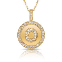 """14K Solid Yellow Gold Round Circle Initial """"O"""" Letter Charm Pendant & Ne... - $30.99+"""