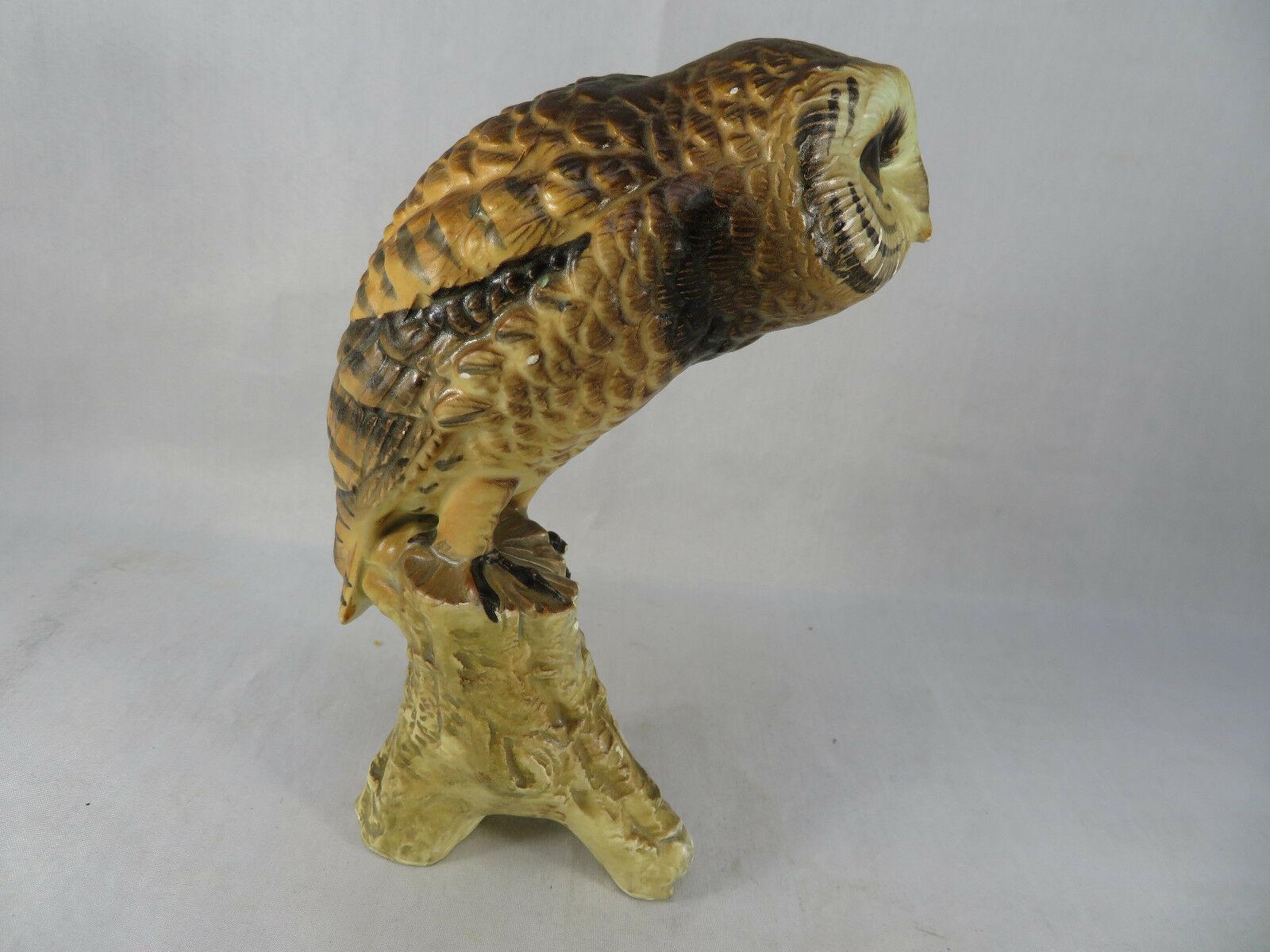 "Vintage BARN OWL Figurine Bird Ceramic Model Hand Painted JAPAN 6""1/2 Tall"