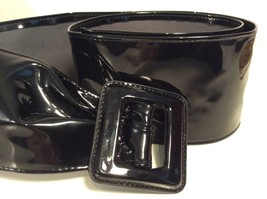 """ASOS Extra Wide Black Buckle Belt Approx 3"""" x 40"""" Long Cat Woman Costume... - $8.68"""