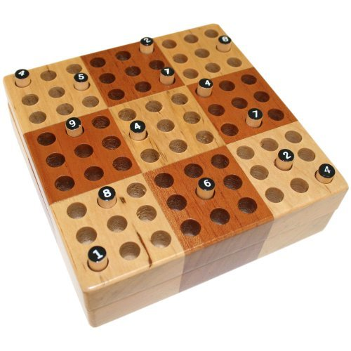 Elbert Mini Wooden Travel Sudoku Board Game Set with Wood Peg Pieces - 5 Inch