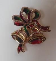 Signed Avon 2015 Gold-tone Enamel Rhinestone Holiday Bells Brooch  - $15.99