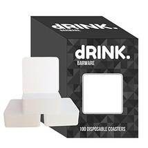 dRINK Barware Coasters, Pack of 100, 3 inch Square Plain White Heavyweig... - $267,84 MXN