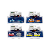 Hitch & Tow V-Dub Assortment Set of 4 1/64 Diecast Model Cars by Greenli... - $66.53
