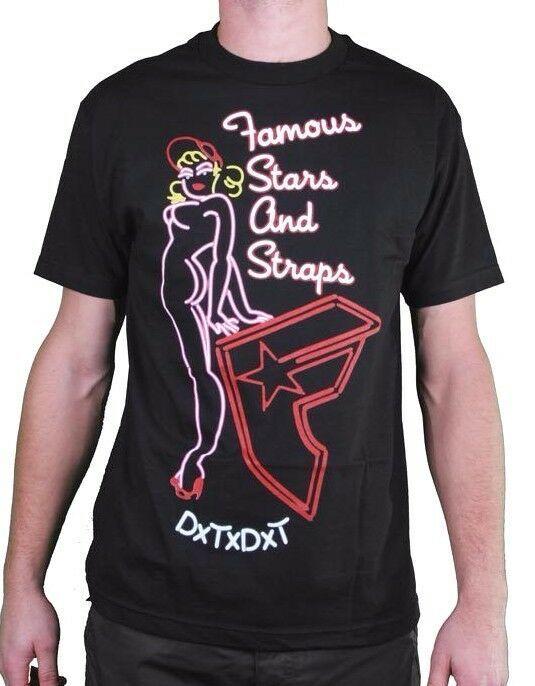 Famous Stars & Straps Negro de Hombre Último Call Neón Letrero Boh Camiseta Nwt