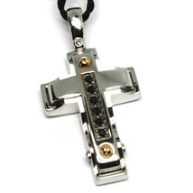 SOLID 18K WHITE GOLD CROSS PENDANT 30mm, ROUNDED SQUARES BLACK ZIRCONIA image 2