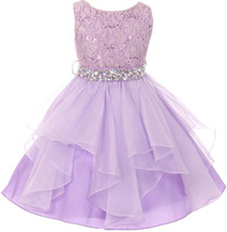 Flower Girl Dress Sequin Lace Top Ruffle Skirt Lilac MBK 357 - $43.56+