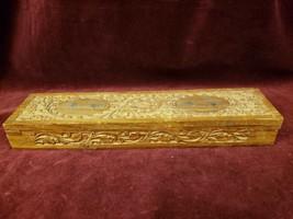 Vintage Hand Carved Rectangular Wood Box Floral Motif Sarna 960 Made in ... - $29.69