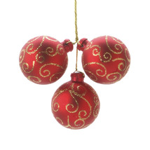 Seasonal Floral Red Christmas Ornament Pick Gold Swirl 40 Millimeters 3 ... - $15.00
