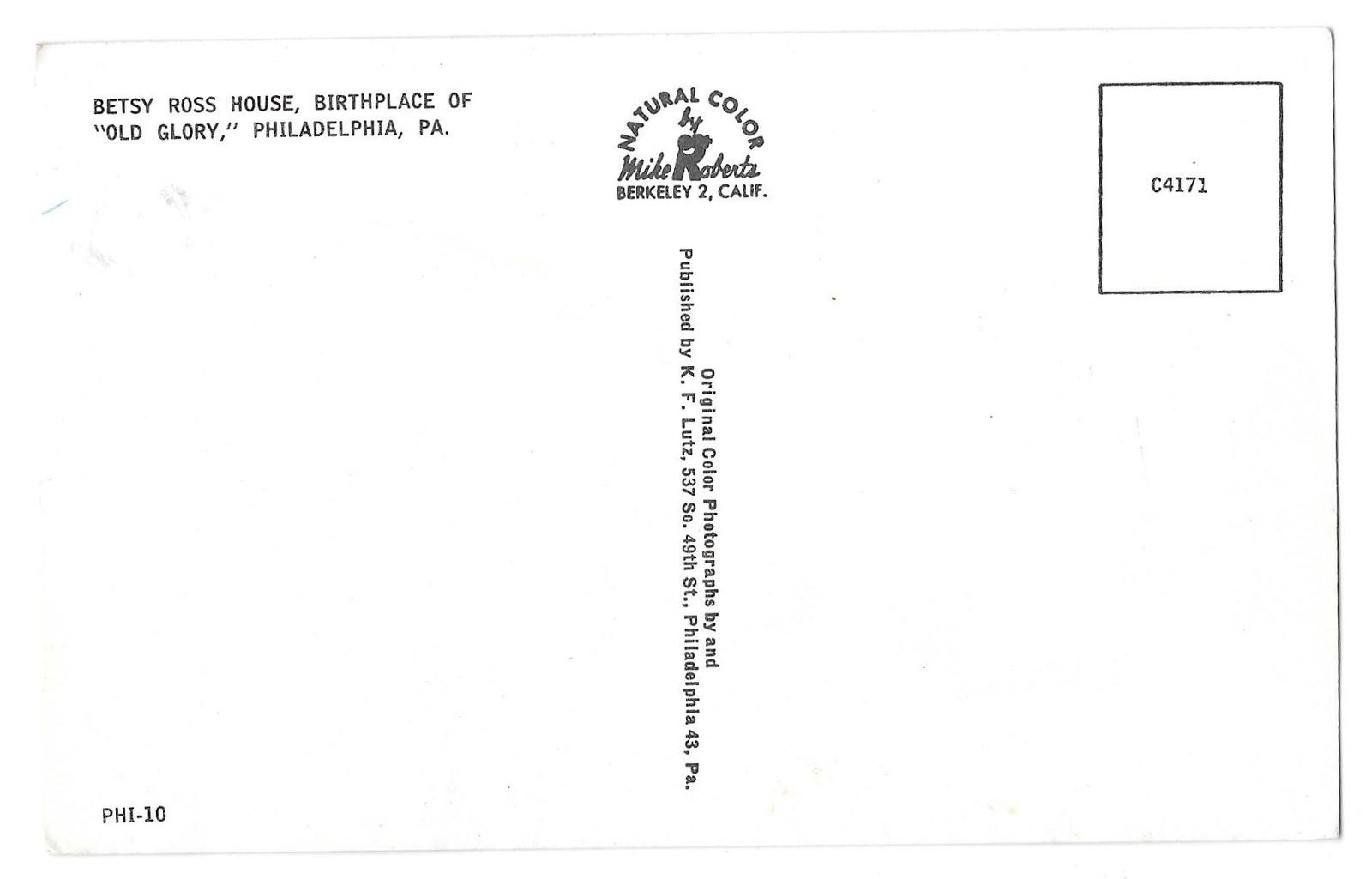 Philadelphia PA Betsy Ross House American Flag Vintage Mike Roberts Postcard