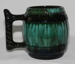 Vintage Blue Mountain Pottery BMP Green Black Drip Glaze 16 oz. Barrel S... - $14.99