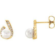 Freshwater Pearl & 1/10 CTW Diamond Earrings In 14K Yellow Gold - $341.55