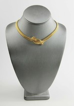 VINTAGE Jewelry HIGH END OMEGA COLLAR CHOKER CHAIN NECKLACE WITH KNOT DE... - $15.00