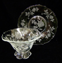 Heisey Rose Glass Crystal Mayonnaise Dish Bowl Pedestal Base w/ Liner Pl... - $41.57